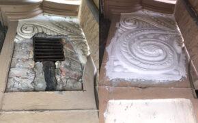 Vēsturiskās fasādes dekoratīvo elementu atjaunošana. Izlejot formas un esošos jaunos elementus stiprinot uz līmes.